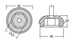 - Zinkanode til Side Power SP55/SP75/SP95