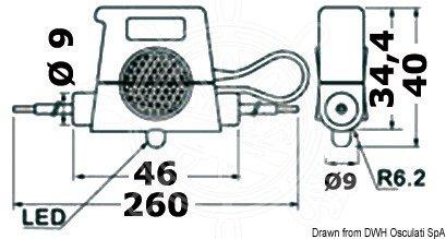 Osculati - Sikringsholder med advarselslampe