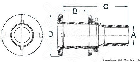 Osculati - Skroggennemføring Rustfri/nylon