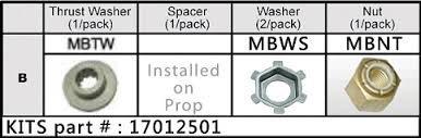Solas - Propel møtrik kit, Mercury 9,9-25hk