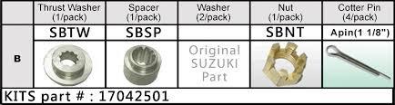 Solas - Propel møtrik kit, Suzuki 20-30 hk