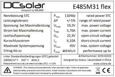- DC Solar Flex SunPower 110W