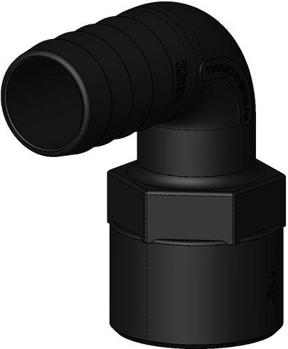 Tru-design - Slanganslutning till genomföring 90° med slangsockel