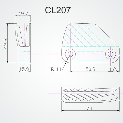 Clamcleat - Cl 207 lateral (Bagbord)
