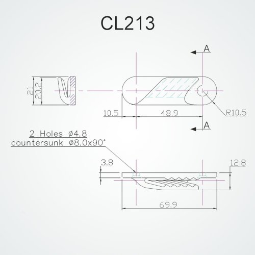 Clamcleat - Cl 213 fine line (Starboard)