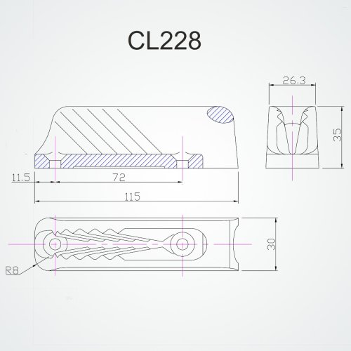 Clamcleat - CL 228 Vertical with Intergral Fairlead