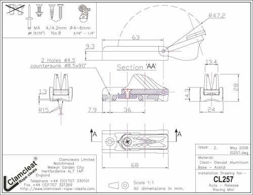 Clamcleat - Cl auto released cleat