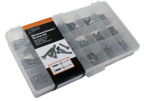 - Sortimentsbox med selvskærende skruer
