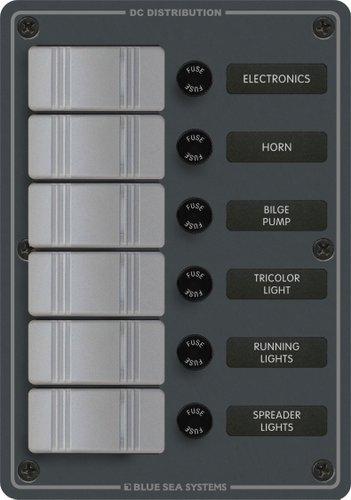 Blue Sea System - Säkringspanel med 6 brytare