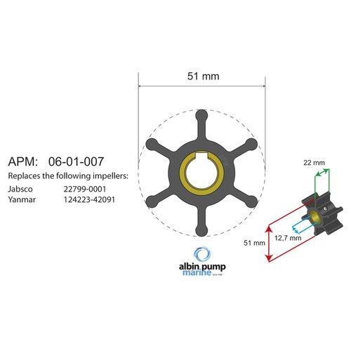 Albin Pump Marine - Impeller Albin pump 06-01-007