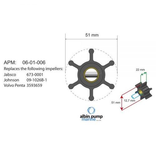 Albin Pump Marine - Impeller 500216GX